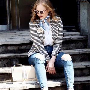 Beautiful navy & cream striped blazer from H&M